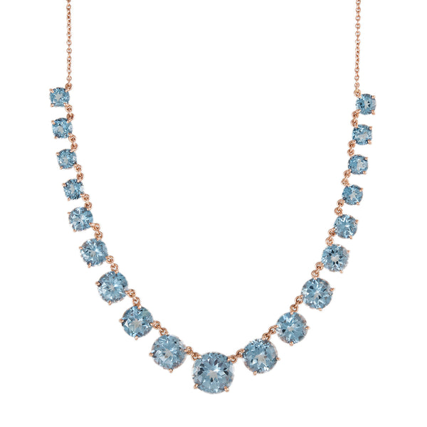 GRADUATED ROUND BLUE TOPAZ NECKLACE