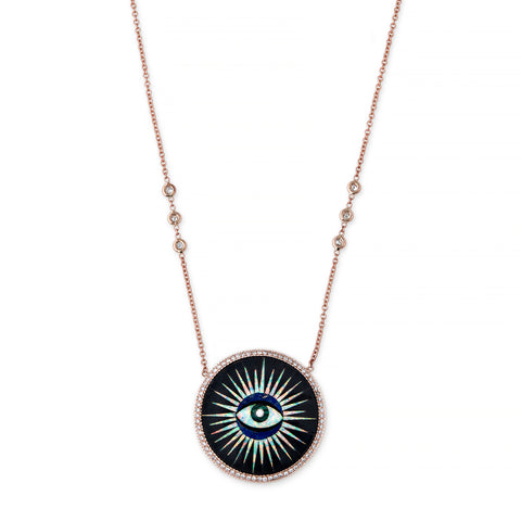 PAVE ONYX INLAY EYE NECKLACE