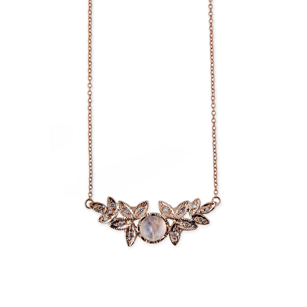 MOONSTONE MIRRORED LEAVES NECKLACE