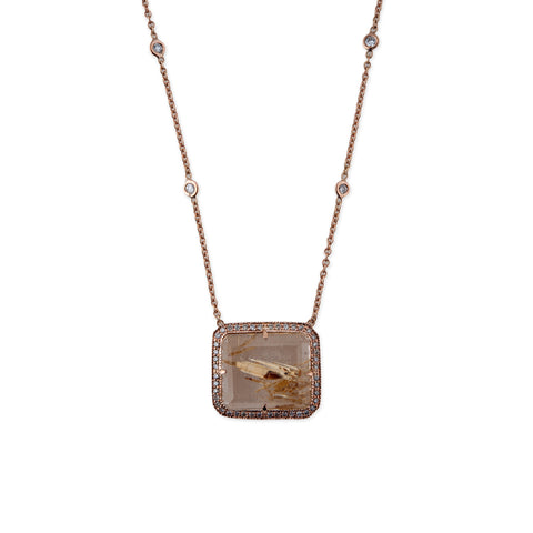 PAVE RUTILATED QUARTZ RECTANGLE NECKLACE
