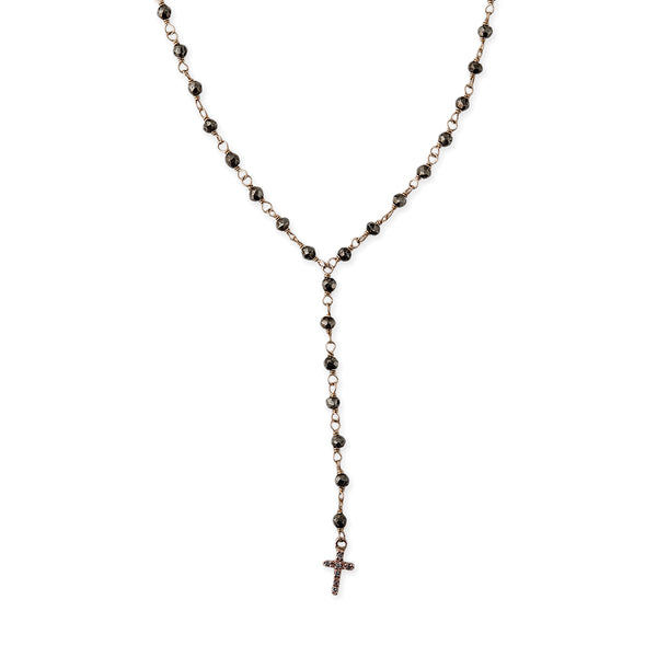 PAVE CROSS Y BEADED PYRITE ROSARY NECKLACE