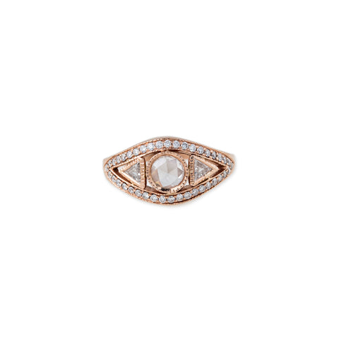 ROSE CUT TRILLION PAVE EYE RING
