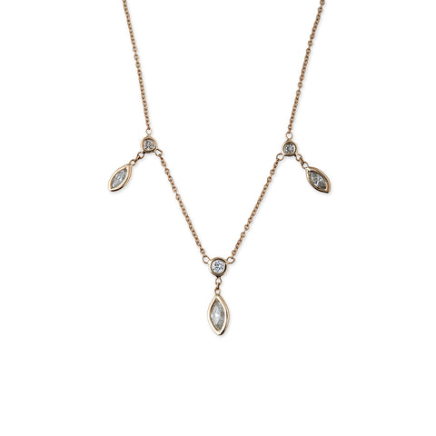 3 SPACED OUT DIAMOND MARQUISE DROP NECKLACE