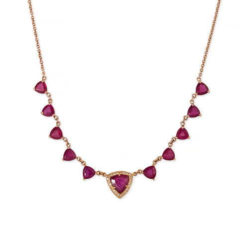 5x5 TRILLION RUBY PAVE CENTER NECKLACE
