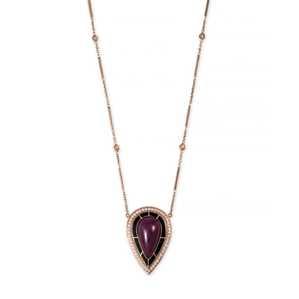 PAVE DIAMOND ONYX INLAY RUBY TEARDROP CENTER NECKLACE