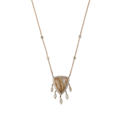 PAVE DIAMOND RUTILATED QUARTZ SHAKER NECKLACE