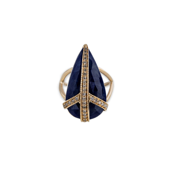 PAVE + SAPPHIRE PEACE RING