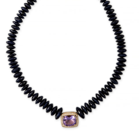 PAVE AMETHYST RECTANGLE CENTER FACETED SAPPHIRE BEADED NECKLACE