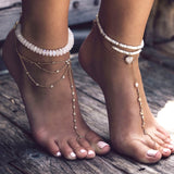3 ROW DIAMOND SELENA TOE ANKLET