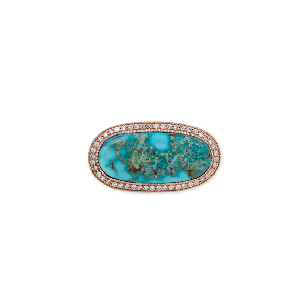 PAVE SIDEWAYS OVAL TURQUOISE RING