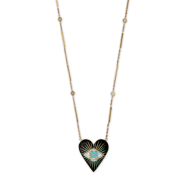 SMALL ONYX OPAL TURQUOISE INLAY EYE BURST HEART NECKLACE