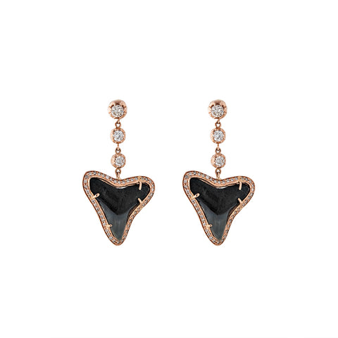 3 GRADUATED DIAMOND SOPHIA SHARK TOOTH EARRINGS