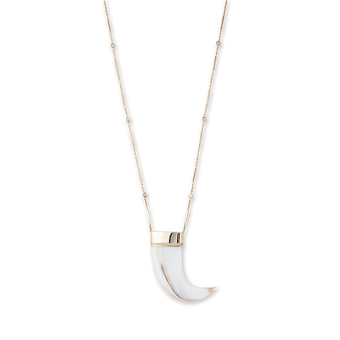 LARGE PAVE DIAMOND WHITE HORN NECKLACE