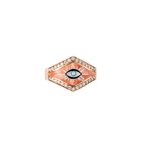 PAVE DIAMOND SPINY OYSTER + PEARL EYE BURST INLAY V RING