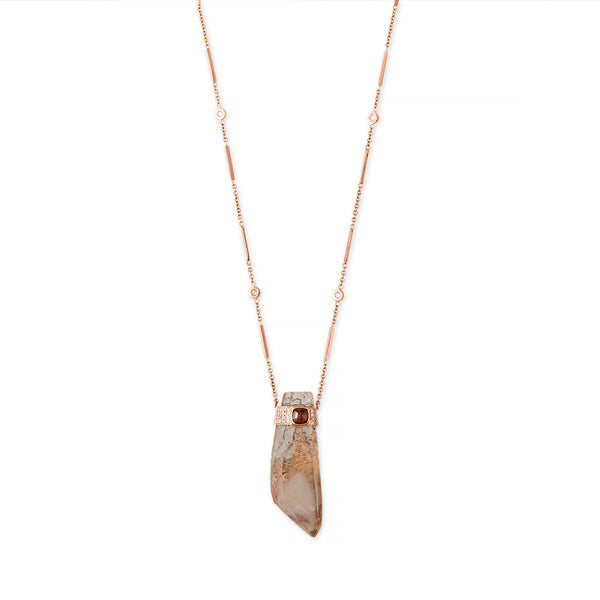 RAW DIAMOND CENTER CAP FREEFORM PHANTOM QUARTZ NECKLACE