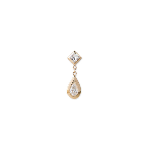 SQUARE + TEARDROP DIAMOND STUD