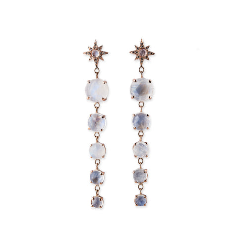 SHINING STAR + GEMSTONE DROP EARRINGS