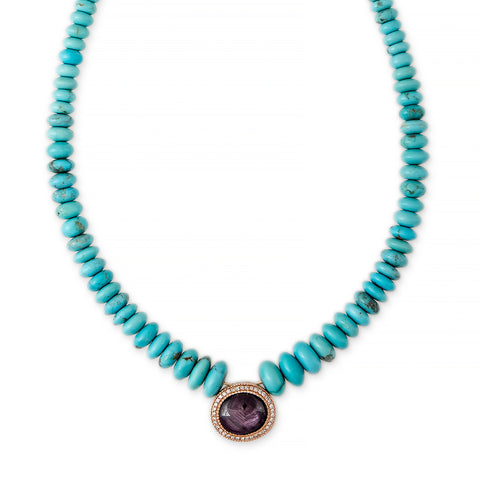 PAVE STAR RUBY OVAL CENTER GRADUATED TURQUOISE BEADED NECKLACE