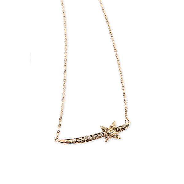 STAR SWORD NECKLACE WITH PAVE DIAMONDS