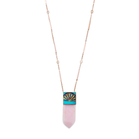SUNRISE OPAL INLAY CAP PINK OPAL CRYSTAL NECKLACE