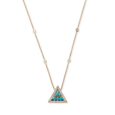 PAVE SUNSHINE TRIANGLE INLAY NECKLACE