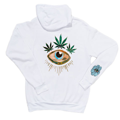 SWEET LEAF CROWN WHITE HOODIE