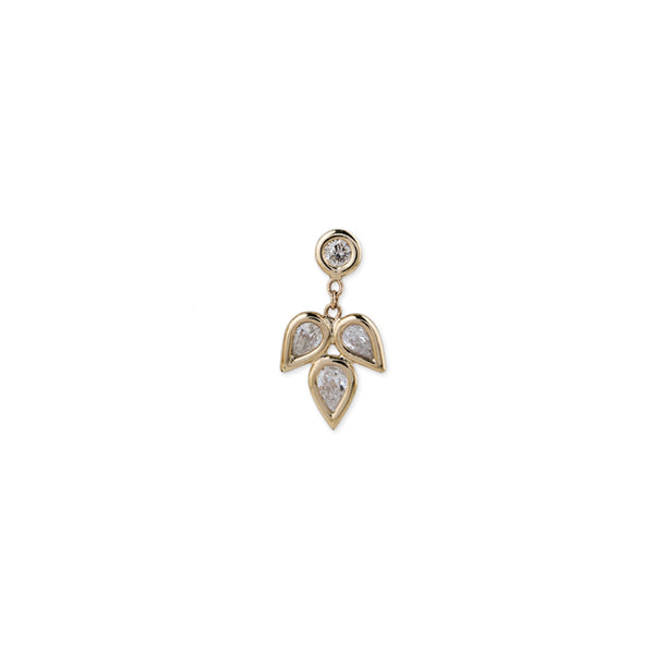 TEARDROP PETAL DROP STUD EARRING