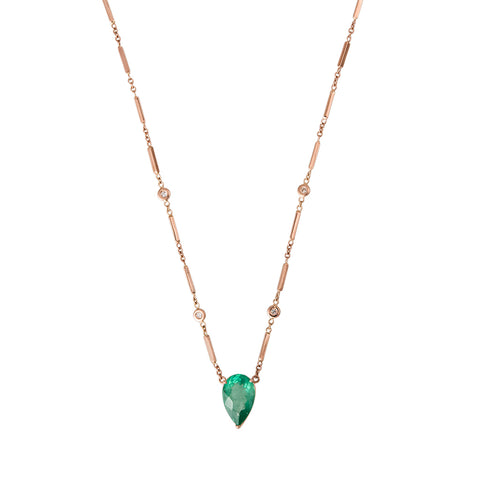 EMERALD TEARDROP CENTER NECKLACE