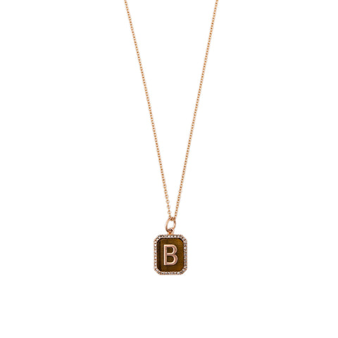 TIGER'S EYE PAVE ALPHABET CHARM ON CHAIN
