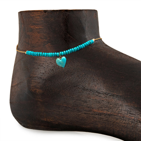 BUY ONE, SEND ONE - TURQUOISE HEART ANKLET