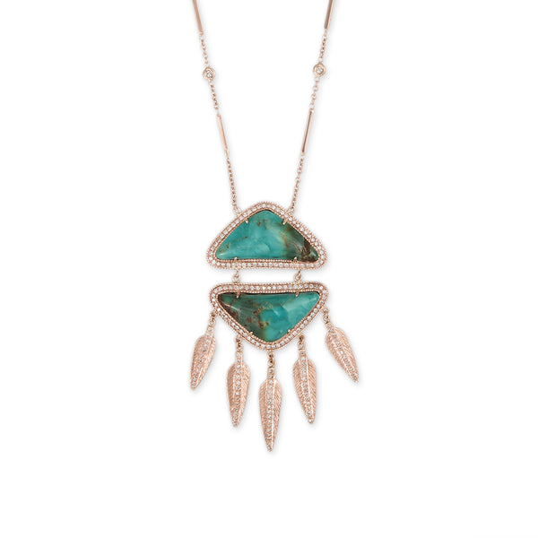 TURQUOISE PAVE DIAMOND FEATHER DREAMCATCHER NECKLACE