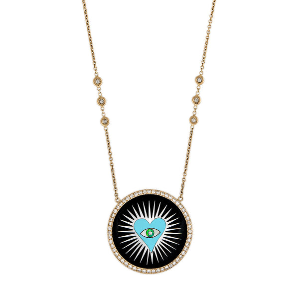 PAVE ONYX INLAY TURQUOISE HEART BURST NECKLACE