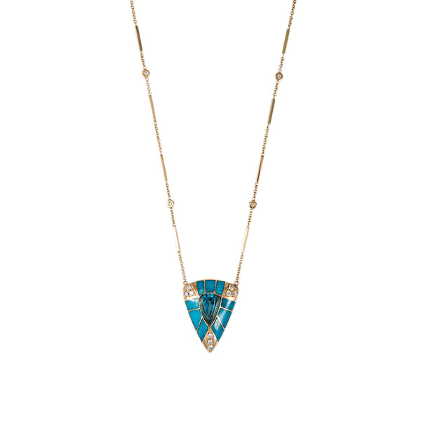 PAVE, TURQUOISE & AQUAMARINE INLAY SMOOTH BAR NECKLACE