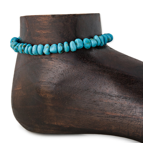 TURQUOISE NUGGET BEAD ANKLET