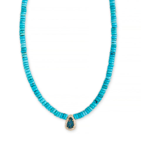 PAVE BLUE OPAL CENTER TURQUOISE HEISHI BEADED NECKLACE