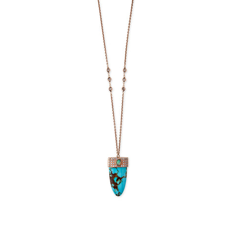 TURQUOISE SPEAR OPAL CENTER NECKLACE