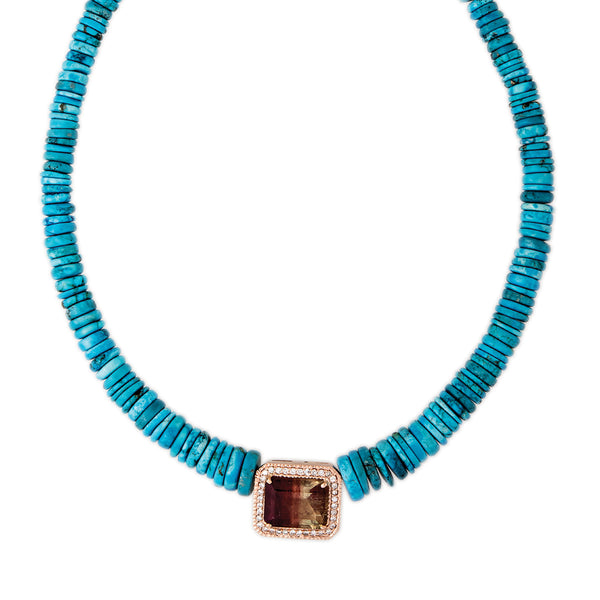 PAVE WATERMELON TOURMALINE CENTER TURQUOISE HEISHI BEADED NECKLACE