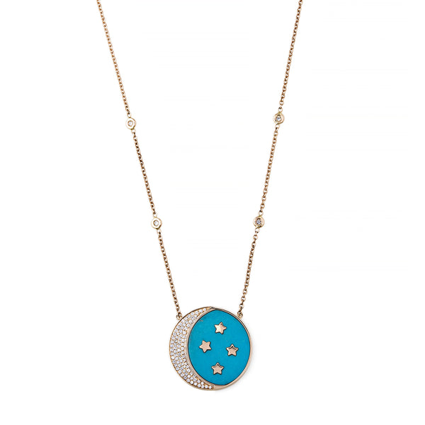 PAVE TURQUOISE INLAY CRESCENT MOON + STAR NECKLACE