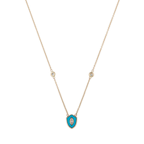 SMALL TURQUOISE DIAMOND CENTER SLIM SHIELD NECKLACE