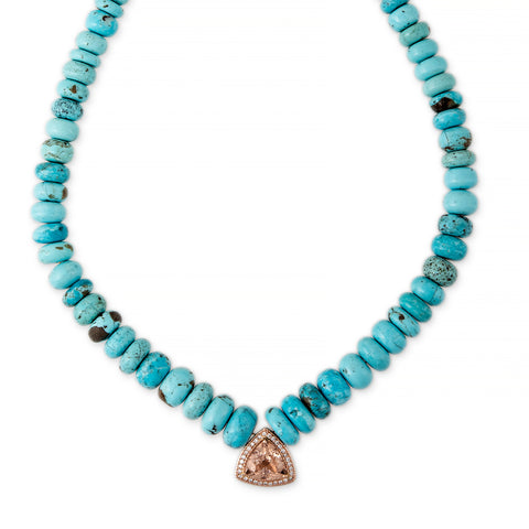 PAVE TRILLION MORGANITE CENTER GRADUATED TURQUOISE BEADED NECKLACE