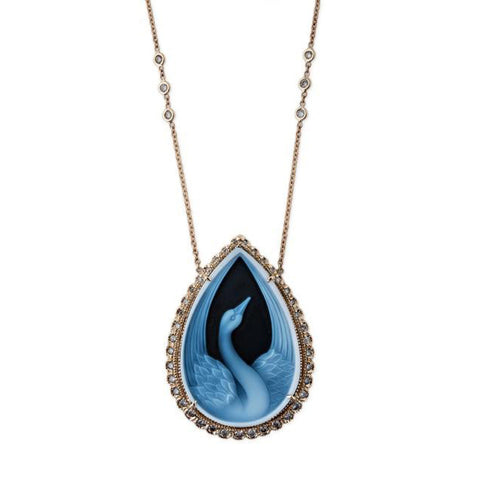 TEARDROP SWAN CAMEO NECKLACE