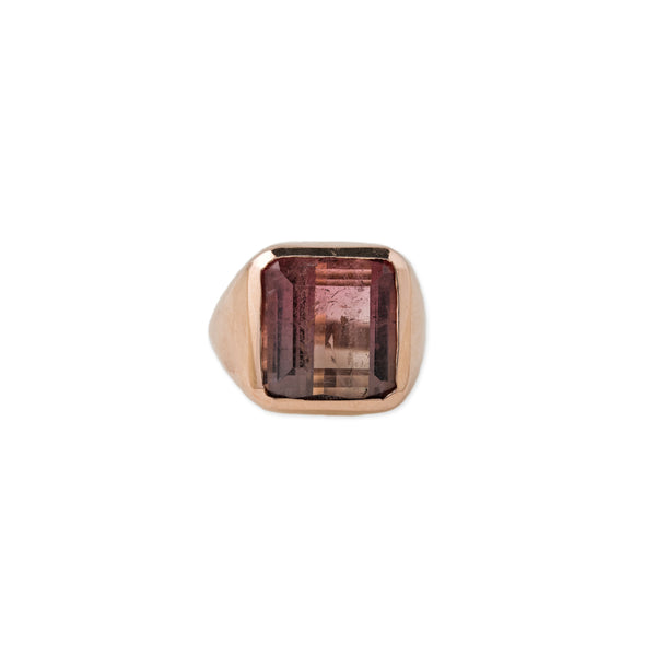 WATERMELON TOURMALINE SIGNET RING