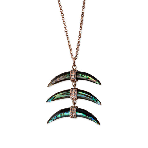 3 WIDE ABALONE HORN NECKLACE