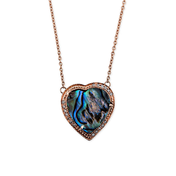 PAVE ABALONE HEART NECKLACE