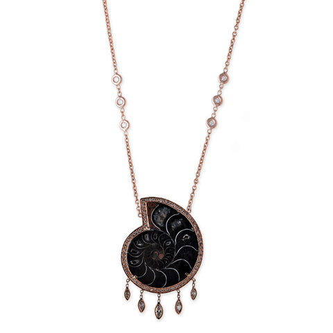 AMMONITE FOSSIL MARQUISE SHAKER NECKLACE