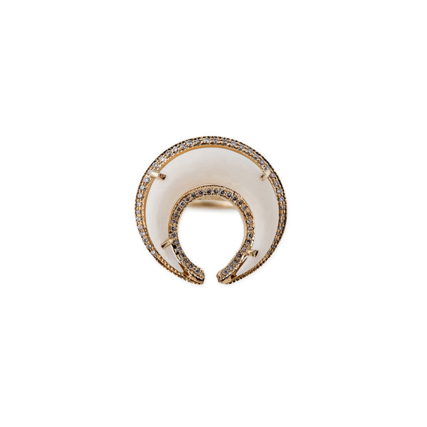 FULL PAVE DOUBLE BONE HORN RING