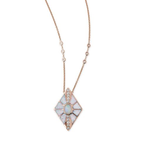 PAVE WHITE OPAL INLAY KITE NECKLACE