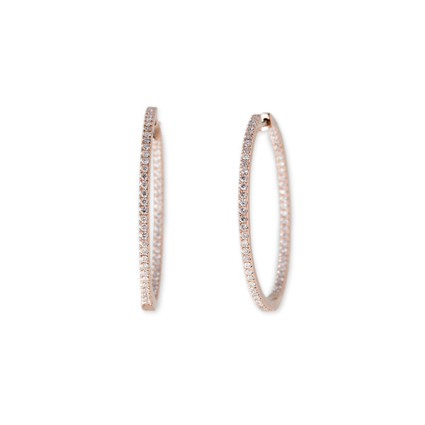 INSIDE OUT PAVE DIAMOND HOOPS