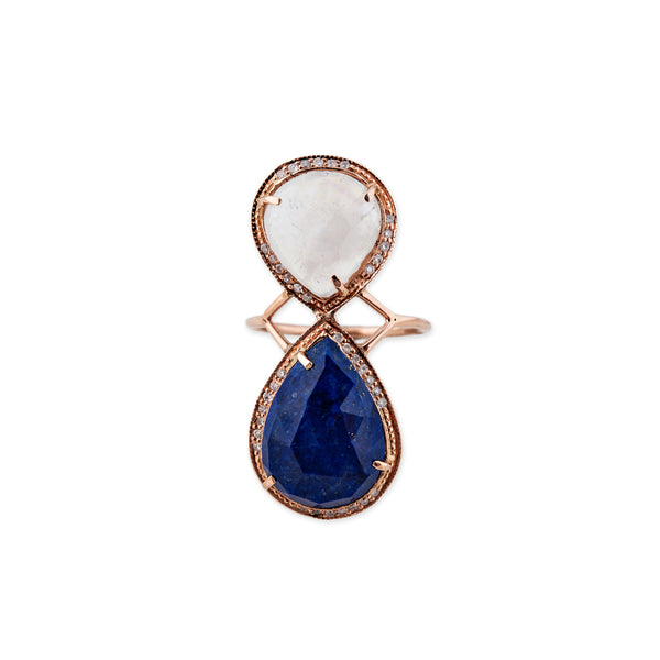 LAPIS + MOONSTONE TEARDROP TRINITY RING
