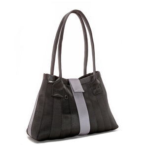 Handbag Black Silver Purple left